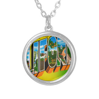 Greetings From California Silver Plated Necklace