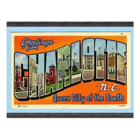 Greetings From Charlotte N.C. , Vintage Postcard