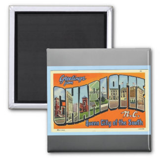 Greetings From Charlotte N.C. , Vintage Square Magnet