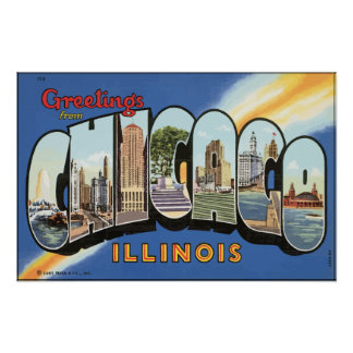 Greetings From Chicago Illinois, Vintage Posters