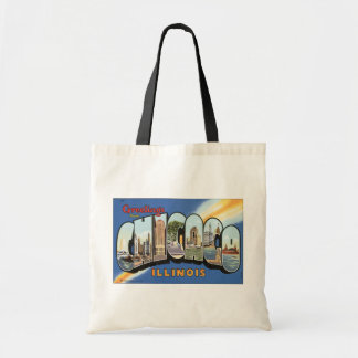 Greetings From Chicago Illinois, Vintage Tote Bag