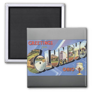 Greetings From Columbus Ohio, Vintage Square Magnet
