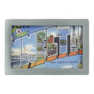 Greetings From Connecticut Rectangular Belt Buckle