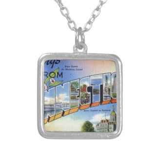 Greetings From Connecticut Silver Plated Necklace