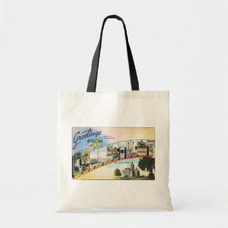 Greetings From Connecticut, Vintage Canvas Bag