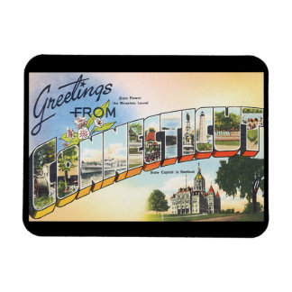 Greetings from Connecticut_Vintage Travel Poster Rectangular Photo Magnet