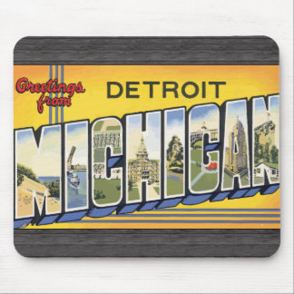 Greetings From Detroit Michigan, Vintage Mouse Pads