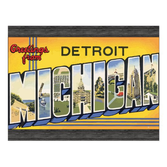 Greetings From Detroit Michigan, Vintage Postcard