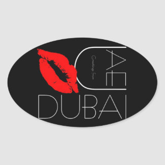 Greetings from Dubai UAE Red Lipstick Kiss Oval Sticker