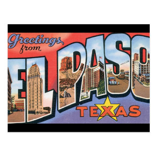 Greetings from El Paso Texas_Vintage Travel Poster Postcard