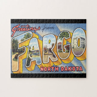 Greetings from Fargo North Dakota_Vintage Travel Jigsaw Puzzle