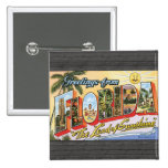 """Greetings From Florida """"The Land Of Sunshine"""", Vin 15 Cm Square Badge"""