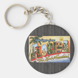 """Greetings From Florida """"The Land Of Sunshine"""", Vin Basic Round Button Key Ring"""