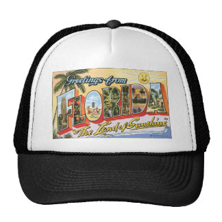"""Greetings From Florida """"The Land Of Sunshine"""", Vin Trucker Hats"""