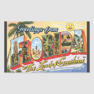 "Greetings From Florida ""The Land Of Sunshine"", Vin Rectangle Stickers"