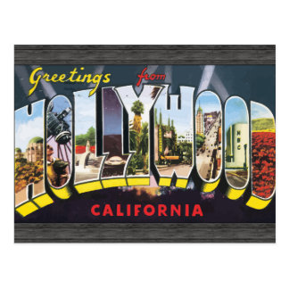 Greetings From Hollywood California, Vintage Postcard