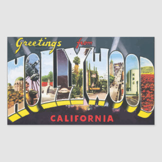 Greetings From Hollywood California, Vintage Rectangular Stickers