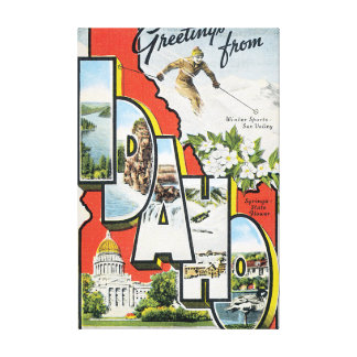 Greetings from Idaho Vintage Travel Poster Artwork Gallery Wrap Canvas