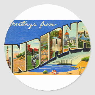 Greetings From Indiana Classic Round Sticker