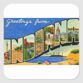 Greetings From Indiana Square Sticker
