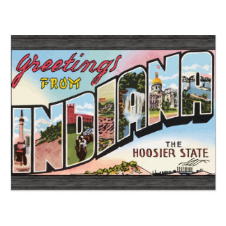 Greetings From Indiana The Hoosier State, Vintage Post Cards
