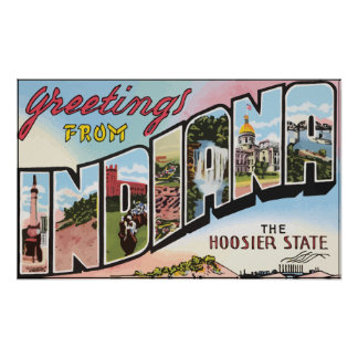 Greetings From Indiana The Hoosier State, Vintage Print