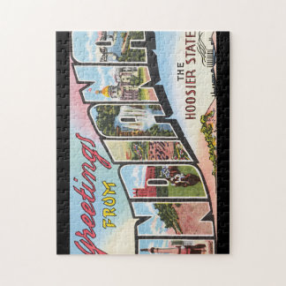 Greetings from Indiana_Vintage Travel Poster Jigsaw Puzzle
