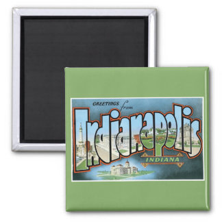 Greetings from Indianapolis Indiana! Vintage Square Magnet