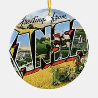 Greetings from Kansas Ceramic Ornament