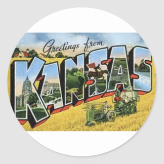 Greetings from Kansas Classic Round Sticker