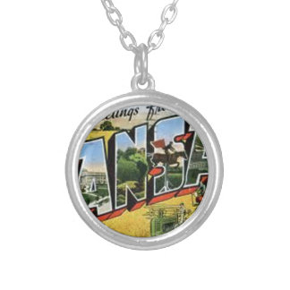 Greetings from Kansas Silver Plated Necklace