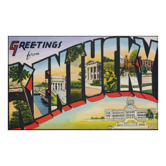Greetings From Kentucky Vintage Poster
