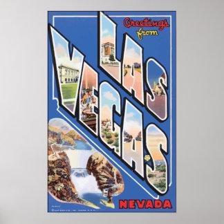 Greetings From Las Vegas Nevada, Vintage Poster