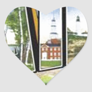 Greetings From Maine Heart Sticker