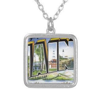 Greetings From Maine Silver Plated Necklace