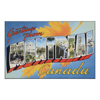 Greetings From Mantreal Canada, Vintage Poster