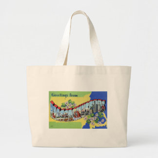 Greetings From Massachusetts Large Tote Bag