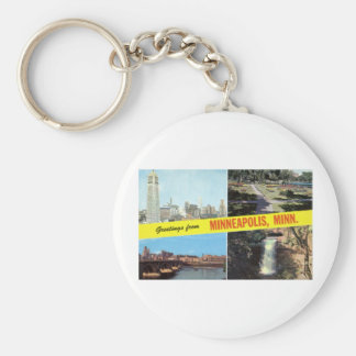 Greetings from Minneapolis 1950s Basic Round Button Key Ring