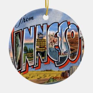 Greetings From Minnesota Ceramic Ornament