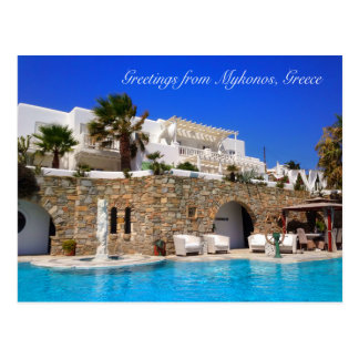 Greetings from Mykonos, Greece Pool Hotel Postcard