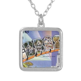 Greetings From Nebraska Silver Plated Necklace