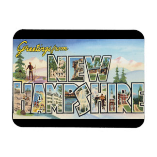 Greetings from New Hampshire_Vintage Travel Rectangular Photo Magnet