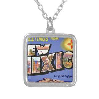 Greetings From New Mexico Silver Plated Necklace