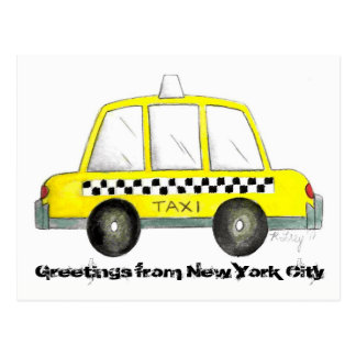 Greetings from New York City NYC Yellow Taxi Cab Postcard
