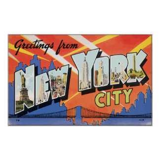 Greetings From New York City, Vintage Poster