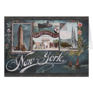 Greetings From New York , Vintage Greeting Card