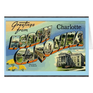 Greetings From North Carolina Charlotte, Vintage Greeting Card