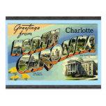 Greetings From North Carolina Charlotte, Vintage Postcard