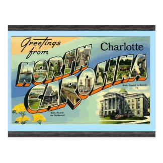 Greetings From North Carolina Charlotte, Vintage Postcard
