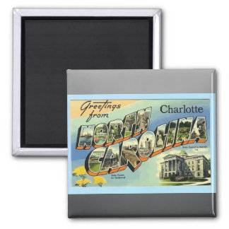 Greetings From North Carolina Charlotte, Vintage Square Magnet